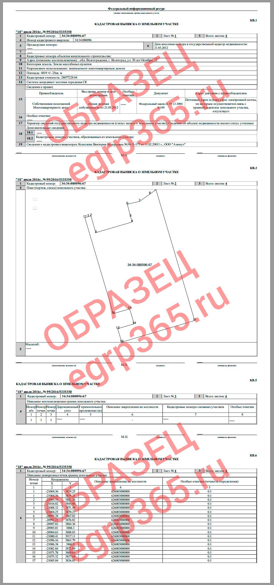 Образец кадастровой выписки на земельный участок